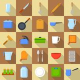 Kitchenware tools cook icons set, flat style. Kitchenware tools cook icons set. Flat illustration of 25 kitchenware tools cook vector icons for web Stock Image