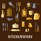 Kitchenware and utensil flat icons Stock Image