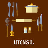 Kitchenware and utensil flat icons Stock Photo