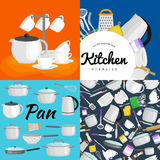 Kitchenware utensils set, Vector illustration of  kitchen utensil. Background with utensil, cook equipment Royalty Free Stock Photography