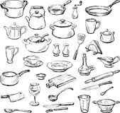 Kitchenware. Vector doodles of the various kitchenware Stock Photo
