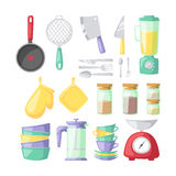 Kitchenware vector icons. Kitchen and cooking icons set. Kitchenware and utensils food preparation vector illustration for restaurants cafe and culinary blog in Stock Images