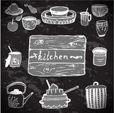 Kitchenware. Vector stickers kitchen utensils. Stock Images