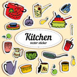 Kitchenware. Vector stickers kitchen utensils Royalty Free Stock Image