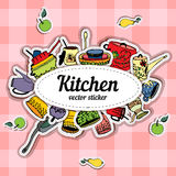 Kitchenware. Vector stickers kitchen utensils Royalty Free Stock Photos
