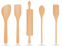 Kitchenware wood,spoon wood, knife wood and fork wood vector. On white background Stock Images