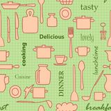 Kitchenware and words - light green vector seamless pattern Royalty Free Stock Photography