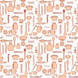Kitchenware and words on white background - vector seamless pattern Royalty Free Stock Photo