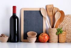 Kitchenware z blackboard Zdjęcia Stock