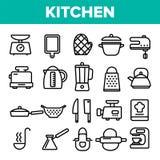 Kitchenwarelinje fastställd vektor för symbol Hem- kökhjälpmedelsymbol Klassisk Kitchenware som lagar mat symboler Tunn översikts stock illustrationer
