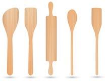 Kitchenwareträ-, skedträ-, knivträ- och gaffelträvektor Arkivbilder