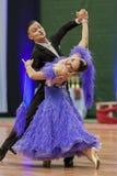 Kitcun Andrey i Krepchuk Yuliya Wykonujemy Dorosłego przedstawienie skrzynki tana przedstawienie Podczas Krajowego mistrzostwa Obraz Royalty Free