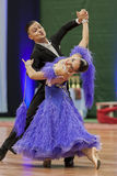 Kitcun Andrey y demostración de la danza de Krepchuk Yuliya Perform Adult Show Case durante el campeonato nacional Imagen de archivo libre de regalías