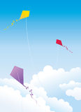 Kite. Only three of the clouds on the kite Stock Image