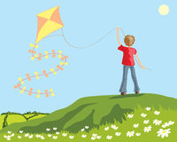 Kite. A hand drawn illustration of a young boy flying a kite on a hillside with daisies and a green landscape Stock Photography