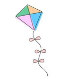 Kite. Illustration of a colorful kite isolated on white background Stock Photos