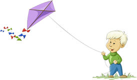 Kite. A boy with a kite, vector Royalty Free Stock Photography