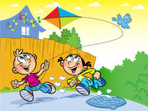 Kite. The illustration shows a boy and a girl on vacation in the countryside. They play and launch a kite Stock Images