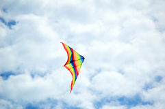 Kite. Colorful kite flying over summer sky Royalty Free Stock Images