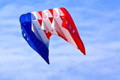 Kite. Extra large patriotic kite captured while in flight royalty free stock photo