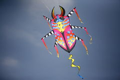 Kite. Colorful kite flying with bright blue background Stock Images