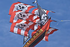 Kite. Large pirate ship kite captured on a sunny day royalty free stock photo