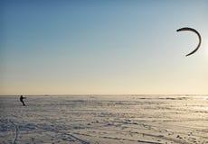 Kite. Winter kite surfing on ice Stock Photography