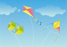 Kite. Three Kite in the blue sky. Vector image vector illustration