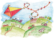 Kite abouve the ground. Kite flying in the sky above the village - colored pencils painting royalty free illustration