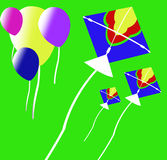 Kite background. Colors balloons and kite image on the green background Royalty Free Stock Photos