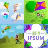 Kite banner set, cartoon style stock illustration