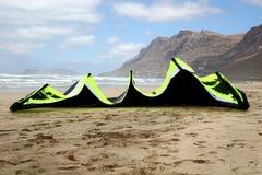Kite on beach. Power kite on beach ready for use Royalty Free Stock Photos