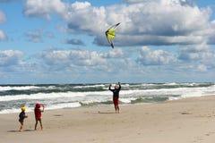 Kite on the beach. Family play on tha beach Stock Photography