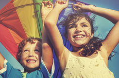 Kite Beach Playful Summer Flying Concept Royalty Free Stock Photo