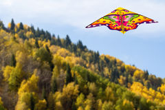 Kite in the blue sky over mountains with colourful trees Royalty Free Stock Photography