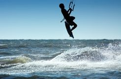 Kite boarder. Kite surfer in action Stock Photography