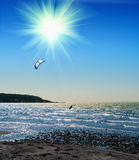 Kite boarder. On  the Ionian island of Lefkas in Greece Royalty Free Stock Photo