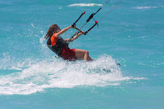 Kite boarder. On the Ionian island of Lefkas in Greece Royalty Free Stock Image