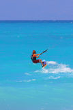 Kite boarder. On the Ionian island of Lefkas in Greece Stock Photography