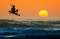 Kite boarder in action stock photos