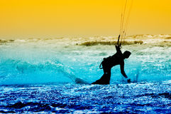 Kite boarder in action Royalty Free Stock Photos
