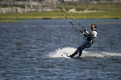 Kite boarder on Baikal lake in Siberia Russia Royalty Free Stock Photos
