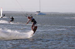 Kite boarder doing a trick Royalty Free Stock Photos