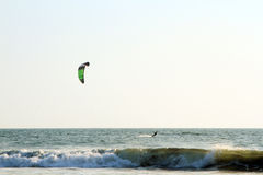 Kiteboarder enjoy surfing in the sea Royalty Free Stock Photos