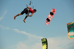 Kite boarder loses his board in mid air Royalty Free Stock Images