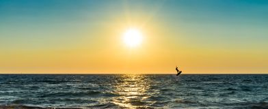 Kite surfer jumping from the water Royalty Free Stock Image
