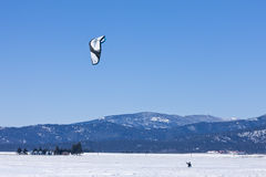 Kite boarder on the prairie. Kite boarding on the snow on the Rathdrum Prairie in north Idaho Stock Image