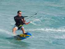 Kite Boarder Shreds the Ocean Waves Stock Photos