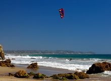 Kite Boarding in Malibu. Kite Boarding at El Matador Beach in Malibu, California Royalty Free Stock Photo