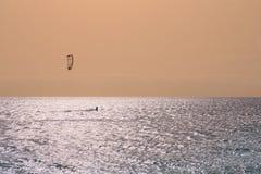 Kite boarding in the ocean Stock Photo